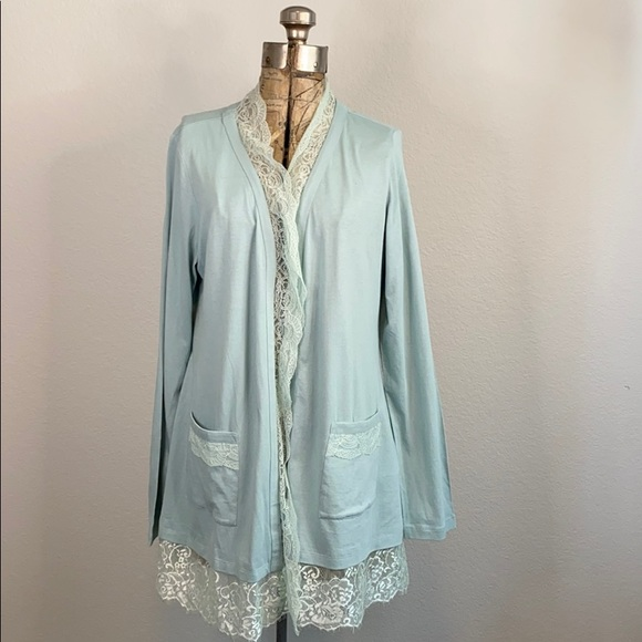 LOGO By Lori Goldstein Lace Trimmed Cardigan